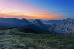 Urkiola mountain range at twilight Royalty Free Stock Photography