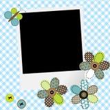 Urklippsboken behandla som ett barn pojkedesign med fotoramen, och patchworken blommar Royaltyfri Foto
