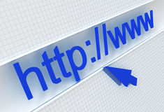 Url in the address line. And cursor on the white checked background royalty free illustration