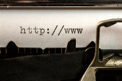 Url text beginning written by old typewriter royalty free stock images