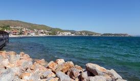 Urla海岸线,伊兹密尔省,土耳其看法  库存照片