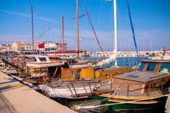 Urla, Tyrkey, waterfront views, stone slope, yachts Royalty Free Stock Image