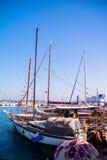 Urla, Tyrkey, waterfront views, stone slope, yachts Stock Photos