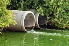 Urladdning av kloak in i en flod arkivbilder
