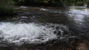 Urladdning av vatten från en kanal i Aude River, Frankrike stock video