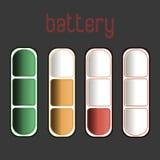 Urladdnings och fullständigt laddad infographic batterismartphone - På vitbakgrund Arkivbild