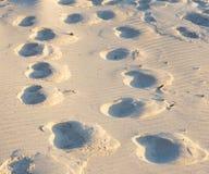 Urlaub verfolgt - viele tiefen Bahnen im Sand Stockfoto