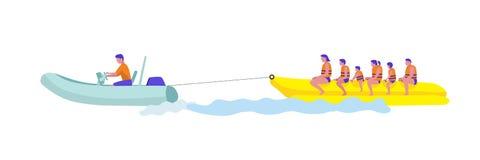 Urlauber auf Bananenboots-Vektorillustration lizenzfreie abbildung