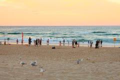 Urlauber am Strand durch Sonnenuntergang stockbild