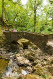Urlauber und Touristen Aira zwingen Wasserfall Ullswater Valley See-Bezirk Cumbria England Großbritannien Lizenzfreie Stockbilder