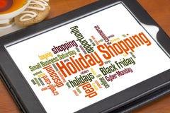 Urlaubseinkäufewortwolke Stockfoto