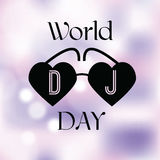 Urlaubsgrüßeillustration Welttag DJ Lizenzfreies Stockfoto