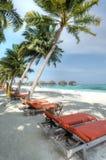 Urlaubsinsel bei den Malediven Stockfotos
