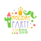 Urlaubsparty für Kindpromozeichen Gezeichnete Illustration Vektor der Kinderparty bunte Hand Stockfoto