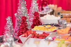 Urlaubspartylebensmittelnachtische festlich verziert mit Erdbeeren der frischen Frucht, Ananas, Melone Stockfoto