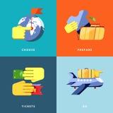 Urlopowe ikony ustawiać Płaska wektorowa ilustracja Fotografia Royalty Free