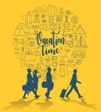 Urlopowego czasu podróży grupa z podróży aktywności ikonami Zdjęcia Royalty Free