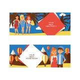 Urlopowi wektorowi ludzie kochającego para charakteru na wakacje ilustracyjnym tle ustawiającym tropikalna karta z kobieta mężczy ilustracja wektor