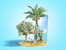 Urlopowy oszczędzania pojęcia hamak dołączający pieniądze drzewo na tle smartphone z fotografią morze 3d odpłaca się dalej ilustracji
