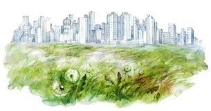 Urman lawn. Painting of green urman lawn Royalty Free Stock Photography