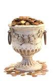 Urn en muntstukken Royalty-vrije Stock Afbeeldingen