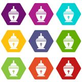 Urn icon set color hexahedron. Urn icon set many color hexahedron isolated on white vector illustration Stock Image