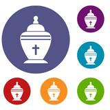 Urn icons set. In flat circle reb, blue and green color for web Royalty Free Stock Image