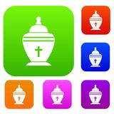 Urn set collection. Urn set icon in different colors isolated vector illustration. Premium collection Stock Image