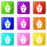 Urn set 9. Urn icons of 9 color set isolated vector illustration Royalty Free Stock Images