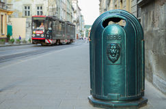 Urn and tram in Lviv Stock Photo