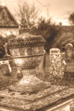 Urn Vase In Old Cemetery HDR sepia tone Royalty Free Stock Image