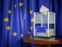 Urna con la bandera de la UE de la unión europea stock de ilustración