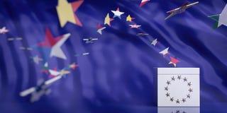 Urna de voto branca no fundo do sumário da bandeira da União Europeia ilustração 3D imagens de stock