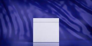 Urna de voto vazia branca no fundo abstrato azul, espaço da cópia ilustração 3D Fotografia de Stock