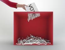 Urna dell'apparecchio per distruggere i documenti Immagini Stock Libere da Diritti