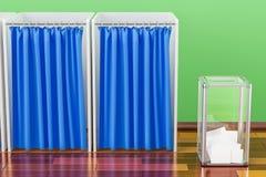Urna di elezione con le cabine elettorali nella sala sulla Florida di legno illustrazione vettoriale