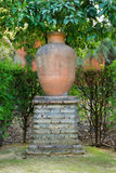 Urna do jardim em um grande suporte do tijolo como uma característica decorativa Imagem de Stock Royalty Free