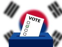 Urnas de votação do conceito para votar com a bandeira nacional de Coreia do Sul no fundo Caixa para votos e placa da verificação ilustração stock