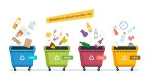 Urnas para la basura de papel de los productos, de los residuos orgánicos, del vidrio y del plástico libre illustration