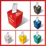 Urne en rouge, blanc, et le bleu avec le vote chutant dedans vote Image stock