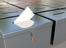 urnes en métal du rendu 3D et carte de vote Photographie stock