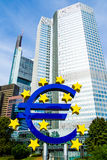 Uro Sign in front of the European Central Bank in Frankfurt, Germany Royalty Free Stock Photography