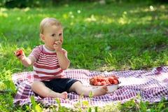 Urocza chłopiec je truskawki Fotografia Stock