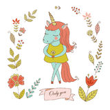Urocza jednorożec z rocznik ramą dla twój projekta w doodle stylu Zdjęcia Royalty Free
