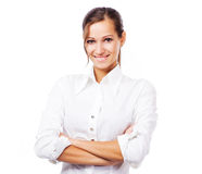 Urocza kobieta w białej koszula Fotografia Royalty Free