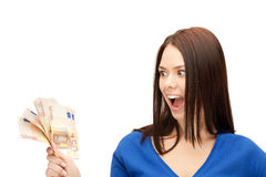 Urocza kobieta z euro gotówki pieniądze Obrazy Stock