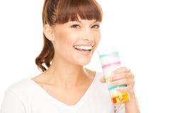 Urocza kobieta z szkłem mleko Fotografia Stock