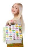 Urocza kobieta z torba na zakupy Obrazy Royalty Free