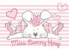 Urocza królik dziewczyny karta ilustracji