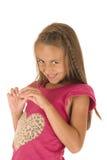 Urocza młoda brunetki dziewczyna z nieśmiałym spojrzeniem z włosianym warkoczem Zdjęcie Stock